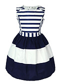 cheap Girls' Dresses-Kids Toddler Girls' Sweet Holiday Blue & White Striped Sleeveless Dress