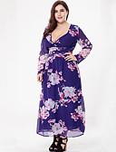 رخيصةأون فساتين نسائية-فستان نسائي قياس كبير شيفون بوهو طباعة - قطن طويل للأرض ورد V رقبة