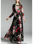 preiswerte Damen Kleider-Damen Ausgehen Festtage Anspruchsvoll Swing Maxi Kleid, Druck Blumen Rundhalsausschnitt Langarm Frühling Herbst