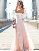 hesapli Maksi Elbiseler-Kadın's Büyük Bedenler Pamuklu Salaş Elbise - Solid, Dantel Bisiklet Yaka Maksi / Sonbahar