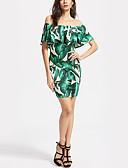 baratos Camisas Masculinas-Mulheres Para Noite Tubinho Vestido - Frufru Estampado, Árvores / Folhas Ombro a Ombro Mini Acima do Joelho Folha tropical