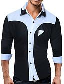 abordables Camisas de Hombre-Hombre Algodón Camisa, Cuello Inglés Bloques / Manga Larga