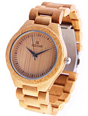baratos Relógios Femininos-Mulheres Relógio de Pulso Japanês Quartzo de madeira Madeira Banda Analógico Amuleto Casual Madeira Amarelo