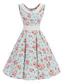 baratos Vestidos de Mulher-Mulheres Vintage Algodão balanço Vestido Floral Altura dos Joelhos
