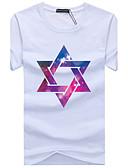 baratos Camisetas & Regatas Masculinas-Homens Tamanhos Grandes Camiseta Buraco Estampado Algodão Decote Redondo