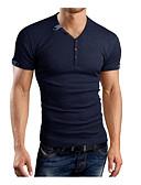 baratos Camisetas & Regatas Masculinas-Homens Camiseta - Esportes Casual Sólido Algodão Decote Redondo Delgado / Manga Curta