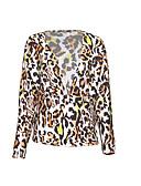 رخيصةأون قمصان نسائية-نسائي بلوزة V رقبة جلد نمر / الصيف