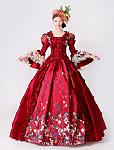 cheap Historical & Vintage Costumes-Princess Goddess Dress Cosplay Costume Masquerade Ball Gown Women's Rococo Medieval Renaissance Party Prom Christmas Halloween Carnival Festival / Holiday Lace Organza Red Carnival Costumes Plus Size