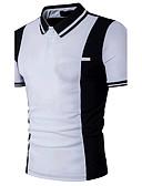 baratos Camisetas & Regatas Masculinas-Homens Polo Activo Patchwork, Estampa Colorida Algodão Colarinho de Camisa Delgado Preto & Branco / Manga Curta