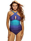 ieftine Tricou-Pentru femei Bloc de Culoare Albastru piscină Briefs O Piesă Costume de Baie - Multicolor / Bloc Culoare Stil modern / Sexy XL XXL XXXL