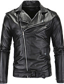 cheap Men's Jackets & Coats-Men's Party / Daily / Club Street chic Spring / Fall / Winter Short Leather Jacket, Solid Colored Notch Lapel Long Sleeve PU Black XXL / XXXL / 4XL