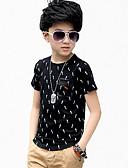 お買い得  男児 トップス-男の子 日常 コットン Tシャツ 春 夏 オールシーズン 半袖 フローラル ホワイト ブラック