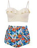 cheap Women's Swimwear & Bikinis-Women's Plus Size Sporty Strap Bikini - Floral, Ruffle Print High Waist