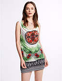 cheap Print Dresses-Women's Boho Club Skinny Sheath Dress Print Orange Brown Green One-Size
