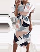 tanie Print Dresses-Damskie Moda miejska Zmiana Sukienka - Geometric Shape, Nadruk Do kolan
