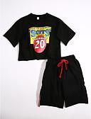 preiswerte Mode für Mädchen-Mädchen Kleidungs Set Alltag Solide Geometrisch Baumwolle Sommer Schwarz