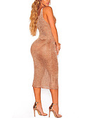 cheap Women's Nightwear-Women's Beach Club Holiday Bodycon Dress - Solid Colored Mesh Criss-Cross High Rise Deep V