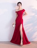 Χαμηλού Κόστους Βραδινά Φορέματα-Γραμμή Α Ώμοι Έξω Ουρά Σατέν Επίσημο Βραδινό Φόρεμα με Με Άνοιγμα Μπροστά με LAN TING Express