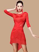 preiswerte Kleidung für Lateinamerikanischen Tanz-Latein-Tanz Kleider Damen Leistung Polyester / Spitze / Milchfieber Spitze / Quaste 3/4 Ärmel Hoch Kleid / Unterhose