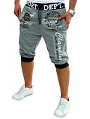 billige T-shirts og undertrøjer til herrer-Herre Aktiv / Basale Bomuld Løstsiddende / Aktiv / Joggingbukser Bukser - Bogstaver Trykt mønster Mørkegrå / Sport / Sommer