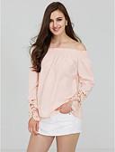 baratos Blusas Femininas-Mulheres Camiseta - Para Noite Feriado Moda de Rua Sólido Ombro a Ombro