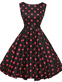 cheap Vintage Dresses-Women's Daily / Holiday / Going out Vintage A Line / Swing Dress - Polka Dot Crew Neck Summer Cotton Black L XL XXL