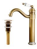 baratos Couro-Faucet Set - Pré Enxaguada / Separada / Rotativo Cobre Envelhecido Conjunto Central Monocomando e Uma Abertura