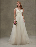 cheap Wedding Dresses-A-Line V Neck Sweep / Brush Train Lace Over Tulle Made-To-Measure Wedding Dresses with Lace / Sash / Ribbon by LAN TING BRIDE®