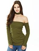 billige Overdele til damer-Rullekrave Dame - Ensfarvet, Udhulet T-shirt Bomuld Polyester