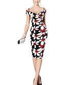 ieftine Rochii de Damă-Damă Petrecere/Cocktail Club Nuntă Sexy Vintage Șic Stradă Bodycon Teacă Rochie-Floral Fără manșon În V Lungime Genunchi Poliester Vară