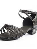 cheap Women's Dresses-Women's Latin Shoes Leatherette Sneaker Low Heel Customizable Dance Shoes Black / Gold / Black / Silver / Pink / Indoor