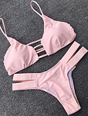 tanie Bikini i odzież kąpielowa 2017-Damskie Podstawowy Pasek Rumiany róż Bikini Stroje kąpielowe - Solidne kolory S M L