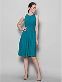 cheap Mother of the Bride Dresses-A-Line Scoop Neck Knee Length Georgette Bridesmaid Dress with Draping / Ruched by LAN TING BRIDE®