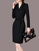 저렴한 여성 드레스-여성용 플러스 사이즈 작동 바디콘 드레스 - 솔리드 높은 밑위 무릎 위 V 넥