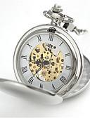 cheap Pocket Watches-Men's Pocket Watch Mechanical manual-winding Retro Silver 30 m Analog Steampunk - Silver