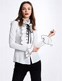 رخيصةأون قمصان نسائية-للمرأة قميص سادة, شريطة / كشكش حامل / ربيع / خريف