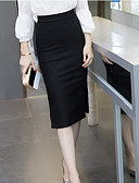 baratos Saias-Mulheres Chique & Moderno Algodão Lápis Saias - Sólido Cintura Alta
