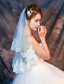 cheap Wedding Veils-One-tier Lace Applique Edge Wedding Veil Elbow Veils Fingertip Veils 53 Pattern Lace Tulle