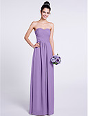 cheap Bridesmaid Dresses-A-Line Strapless Floor Length Chiffon Bridesmaid Dress with Criss Cross by LAN TING BRIDE®