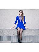 tanie Sukienki-Damskie Pochwa Sukienka - Solidne kolory Głęboki dekolt w serek Mini Niebieski