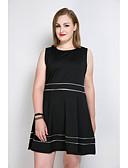 cheap Women's Dresses-Women's Plus Size Party / Daily A Line / Loose / Skater Dress - Color Block Tassel Cotton Black Pink Light Green XXXXL XXXXXL XXXXXXL