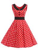 cheap Women's Dresses-Women's Vintage Cotton Swing Dress - Polka Dot Peplum