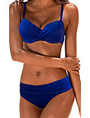 cheap Women's Swimwear & Bikinis-Women's Plus Size Strap Bikini - Solid Colored Basic Briefs
