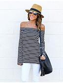 baratos Vestidos Longos-Mulheres Camiseta Listrado Algodão Decote Canoa