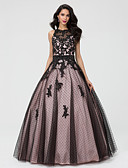 preiswerte Cocktailkleider-Prinzessin Illusionsausschnitt Boden-Länge Taft / Tüll / Perlen-Spitze Schöner Rücken / See Through Abiball / Formeller Abend Kleid mit Perlenstickerei / Applikationen durch TS Couture®