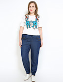 tanie Spodnie-Damskie Współczesny / Solidny / Klasyczny Rozmiar plus Bawełna Haremki / Prosta / Jeansy Spodnie Jendolity kolor / Urlop / Typu Chino