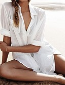 cheap Cover Ups-Women's White Cover-Up Swimwear - Solid Colored Mesh, Cotton One-Size White / Shirt Collar / Loose