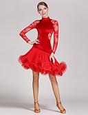 お買い得  ソシアルダンスウェア-ラテンダンス ドレス 女性用 性能 レース / ベルベット フリル / スプライシング 長袖 ナチュラルウエスト ドレス