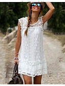 cheap Women's Dresses-Women's Sophisticated Cotton Shift Dress - Solid Colored Lace Mini / Spring