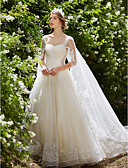 cheap Wedding Dresses-Ball Gown Square Neck Watteau Train Lace Over Tulle Made-To-Measure Wedding Dresses with Crystal / Beading / Sequin by LAN TING BRIDE® / Sparkle & Shine